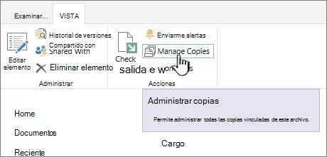 Administrar copias en la cinta de opciones de origen