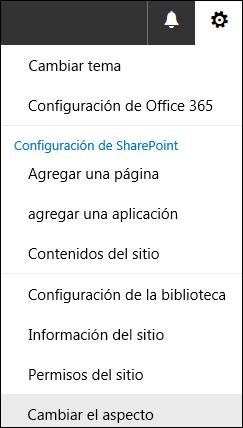 Captura de pantalla que muestra la opción de menú Cambiar la apariencia de SharePoint.