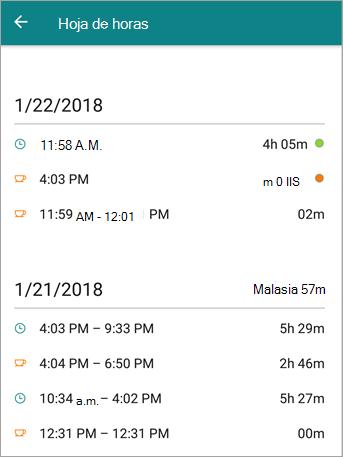 Este es el aspecto de parte de horas de un empleado en la aplicación móvil de StaffHub.