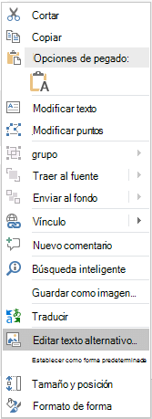 Menú editar texto alternativo de Win32 de PowerPoint para formas