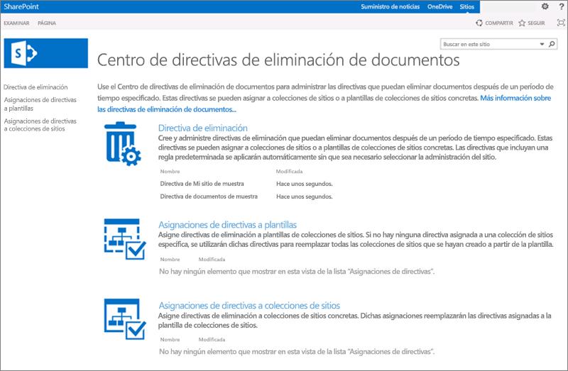 Página de inicio de Centro de directivas de eliminación de documentos