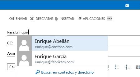 Lista Autocompletar de Outlook Online