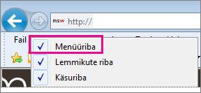 Internet Exploreri menüüriba kuvamine