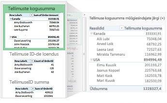 Andmete jaoks soovitatud PivotTable-liigendtabelid