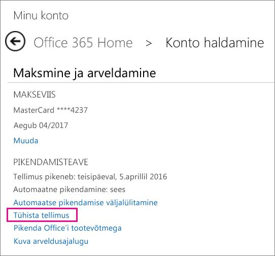 Office'i tellimuse tühistamine