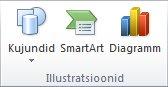 PowerPoint 2010 menüü Lisa jaotis Illustratsioonid.