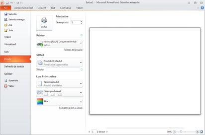 Rakenduse PowerPoint 2010 menüü Fail, aktiivne jaotis Prindi.