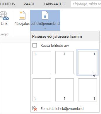 Word Online'i galerii Leheküljenumbrid