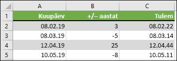 Lisage või koos =DATE(YEAR(A2)+B2,MONTH(A2),DAY(A2)) alates kuupäevast aastate lahutamine