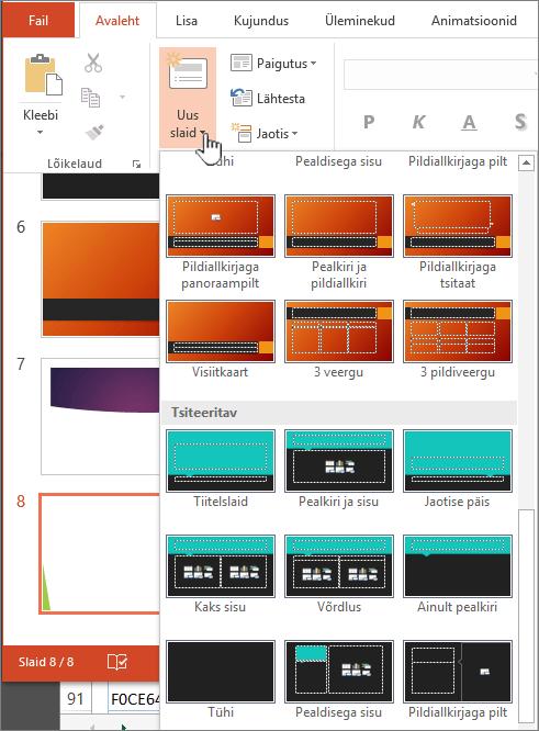 Juhtslaidide valiku kuvamiseks klõpsake noolt nupu Uus slaid kõrval