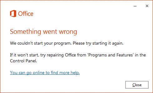 """Tõrketeade """"Midagi läks valesti"""" Office'i avamisel"""