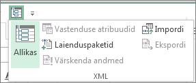 Klõpsake kiirpääsuribal nuppu XML.