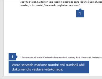 Word seostab märkuse numbri või sümboli vastava viitekohaga dokumendis.