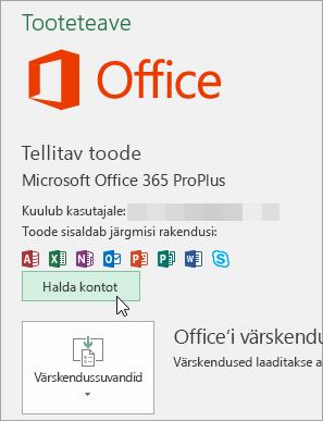Kuvatõmmis Office'i töölauarakenduse konto lehel nupu Halda kontot valimisest