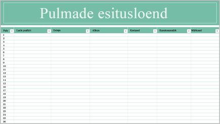 Muusikapalade nimekirjaga arvutustabeli illustratsioon