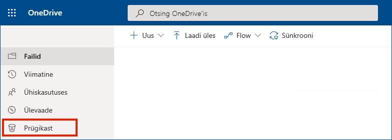 OneDrive for Business veebis, kus vasakus menüüs on näha prügikast