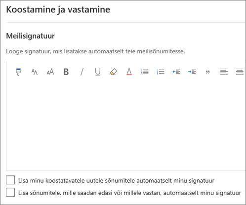 Meilisignatuuri loomine Outlooki veebirakenduses