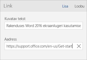 Kuvatõmmis Word Mobile'i dialoogist Link, kus on näha väljad Kuvatav tekst ja Aadress.