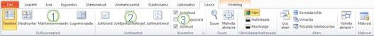 Menüü Vaade rakenduse PowerPoint 2010 lindil.