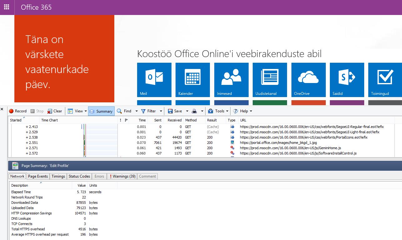 HTTPWatchi võrguteabe vahekaart Office 365 avalehe lehelaadimise teabega.