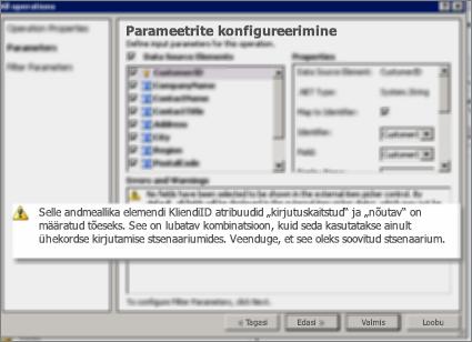 SharePoint Designeri dialoogi Kõik toimingud kuvatõmmis 2. Sellel lehel kuvatakse hoiatused, mis selgitavad loendi põhiatribuutide sätteid.