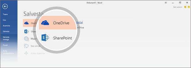 Dokumentide salvestuskohad OneDrive'is ja SharePointis on esile tõstetud.