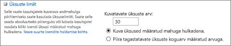 Määrake vaate sätete lehel kuvatavate üksuste arv