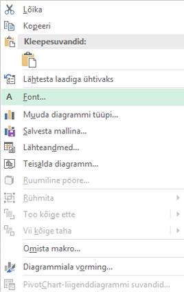 Kuvatõmmis pärast valiku kategooriatelje silte, sh kiirmenüü kaudu saadaolevad suvandid esile tõstetud suvand font.