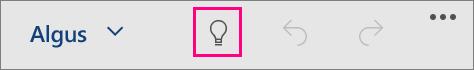 """Näitab ikooni """"Mida soovite teha?"""" Windows 10 Mobile'i jaoks mõeldud Office'is"""