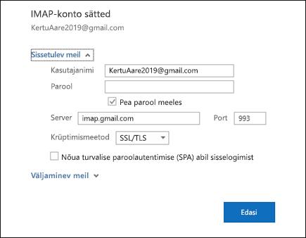 Valige kasutaja nimi, parool ja server sätete muutmiseks serveri sätted.