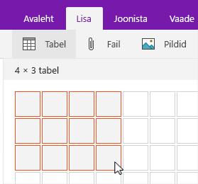 """Valikuruudustikku kuvav käsk """"Lisa tabel"""""""