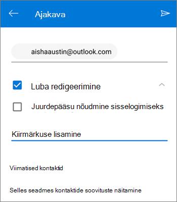 Kuvatõmmis inimeste kutsumisest faili ühiselt kasutama rakendusest OneDrive Androidi jaoks