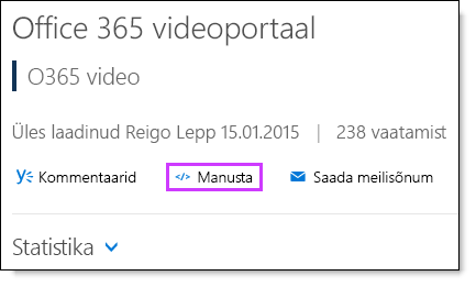 Office 365 Video manustamiskoodi.