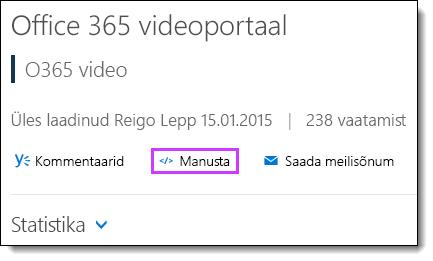 Office 365 video manustamise kood