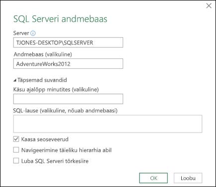 Power Query SQL Serveri andmebaasi ühenduse dialoog