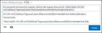 Uudistekanali postitusse kleebitud dokumendi URL
