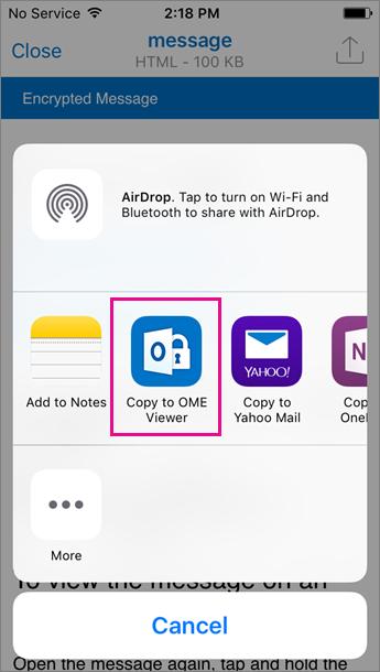 OME sõnumivaatur Outlook iOS-i jaoks 3