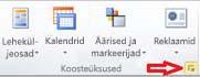 """Publisher 2010 jaotis Koosteüksused, kus on näha nupp """"Kuva koosteüksuste teek"""""""