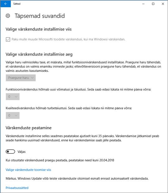 Windowsi täpsemate värskenduste sätted on tuhmid.