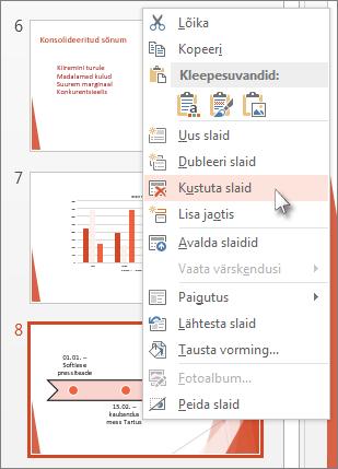 Paremklõpsake PowerPointis slaidi pisipilti ja klõpsake käsku Kustuta slaid.