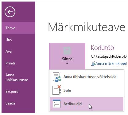 OneNote'i uusim versioon menüü fail otse võtke kasutusele.