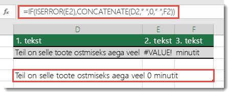Funktsioonid IF ja ISERROR lahendusena viga #VALUE! sisaldava stringi ühendamiseks