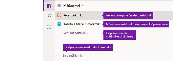 Märkmike loend OneNote'is Windows 10 jaoks