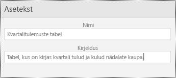 Aseteksti dialoogiboks tabelite rakenduses PowerPoint Mobile for Windowsi telefonides.