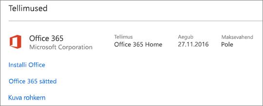 Kui uude arvutisse on installitud Office 365 proovitellimus, aegub see kuvatud kuupäeval