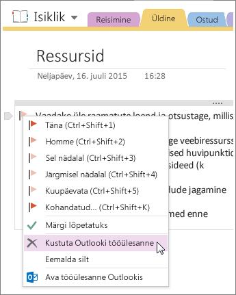 Kuvatõmmis Outlooki tööülesande kustutamisest rakenduses OneNote 2016.