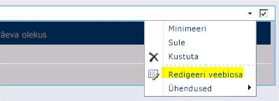 Veebiosa redigeerimise käsk veebiosamenüüs