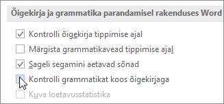Grammatikakontrolli märkeruudud