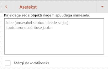 Aseteksti dialoogiboksi Kujundi rakenduses PowerPoint for Android.
