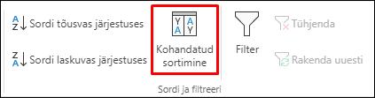 Exceli kohandatud sortimise valik menüüs Andmed